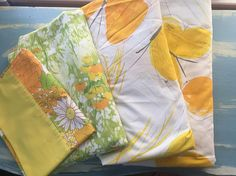 Vintage retro mod bright yellow, green, and orange floral butterfly mix and match twin size sheet lot