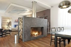 Interior , Modern Fireplace Design Ideas for Stunning Living Room : Amazing Fireplace For Room Divider Design