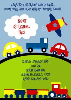 planes trains and automobiles themed party | PLANES TRAINS and Automobiles Primary Color Invitation for Birthday or ...