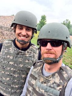 Graham Rahal and Dale Jr after spending the day with the National Guard.