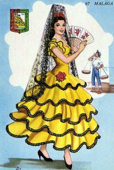Spanish Dancer, Spanish Woman, Spanish Costume, Disney Designs, Dress Card, Fashion Illustration Vintage, Vintage Valentine Cards, Sewing Art, Red Hats