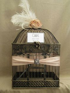Art Deco Wedding Card Box Bird Cage / Bling by SouthburyTreasures... Hmm. Maybe this but navy. Not sure about the feather.