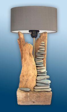 driftwood lamp and scab - Wood Decora la Maison Driftwood Lamp, Driftwood Crafts, Rustic Lamps, Wood Lamps, Wood Resin Table, Stone Lamp, Wall Clock Design, I Love Lamp, Handmade Lamps