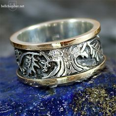 Three Oak Tree of Life ring in two tone gold with silver.