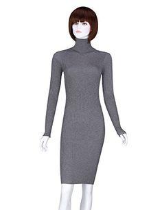 1b4a1638c16 ADAMARIS Womens Fall Winter Turtleneck Long Sleeve Elastic Slim Sweater  Dress     More info