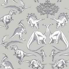 Dotty Dinosaurs by Kerry Caffyn - Grey :Wallpaper Direct