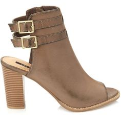FOREVER 21 Buckled Open-Toe Booties ($37) ❤ liked on Polyvore featuring shoes, boots, ankle booties, grey, buckle boots, high heel boots, buckle booties, grey booties and open-toe boots