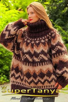 Brown Icelandic mohair sweater by SuperTanya Icelandic Sweaters, Rainbow Sweater, Mohair Sweater, S Models, Shawls And Wraps, Sweater Outfits, Knitwear, Turtle Neck, Long Hair Styles