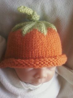 Pumpkin Umbilical Cord Knit Hat by knittingmama82 on Etsy, $12.00