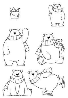 Cute Drawings: Bears, teddy bears and pandas Art Drawings For Kids, Drawing For Kids, Cute Drawings, Animal Drawings, Art For Kids, Christmas Doodles, Christmas Drawing, Christmas Art, Christmas Images