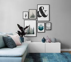 Shades of blue and grey minimalist living room with a pale blue sofa wall g Pink Living Room, Minimalist Living Room, Living Room Scandinavian, Living Room Designs, Living Room Sofa, Living Room White, Duck Egg Living Room, Room Design, Blue And Pink Living Room