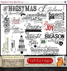 Holiday Word Art - Christmas Scrapbooking Titles - Work great for printable transfers, digital cards and more!  Graphic are great for Personal and Small business Commercial Use