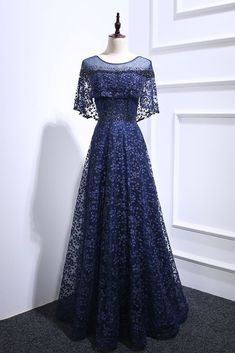 Navy Blue Floral Lace Long Beaded Prom Dress, Long Lace Up Evening Dress