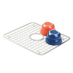 mDesign Kitchen Sink Protector Grid - Regular with Hole for Sink Strainer, Satin