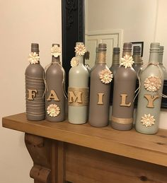 FAMILY decorated wine bottle set