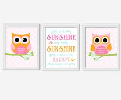 Owl Girl Nursery Art Pink Orange Aqua You Are My Sunshine Girl Room Wall Art Baby Girl Nursery Prints Baby Nursery Decor Owl Wall Decor Bird