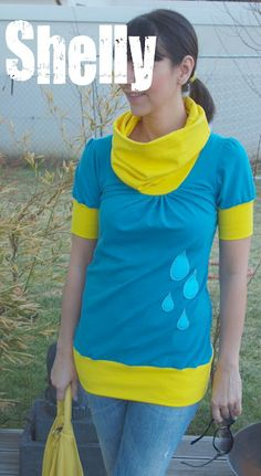 summer shelly in turquoise and yellow - love the raindrops!