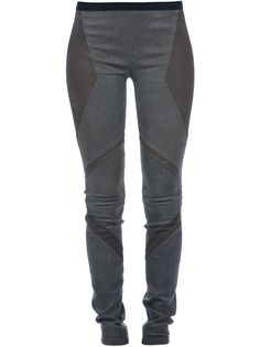 Khaki leather legging from Helmut Lang featuring  textured panels and black elastic waistband.
