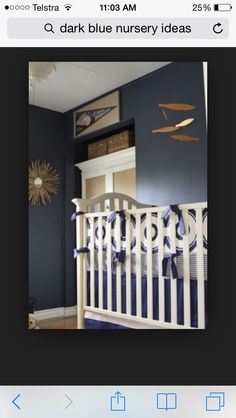 Love the dark blue walls with white crib. This is a gorgeous nursery! Navy Blue Nursery, Grey Nursery Boy, Navy Blue Walls, Gold Nursery, White Nursery, Nursery Neutral, Blue Gold, Big Boy Bedrooms, Baby Boy Rooms