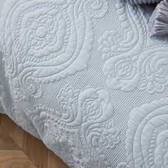Abigail Quilted Quilt Cover Misty Blue