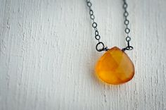 Large Orange Chalcedony Necklace Briolettes Heart by LoveGemStudio