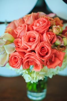 Coral Roses Spring Wedding in Palm Springs, California Photographer: Leif Brandt Photography Coral Wedding Colors, Wedding Color Schemes, Fresh Flowers, Beautiful Flowers, Flower Bouquet Wedding, California Wedding, Palm Springs, Newlyweds, Spring Wedding