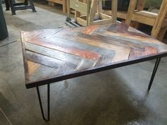 4e50033e29b01 Pallet wood coffee table. Hairpin legs. Painted by me. Gives that rustic  look. DW Custom Living LLC
