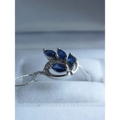 14k white gold ring with sapphires and diamonds