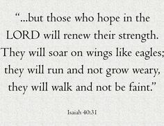 """""""But those who hope in the LORD will renew their strength. They will soar on wings like eagles; they will run and not grow weary, they will walk and not be faint."""" Amen! www.reachavillage.org"""