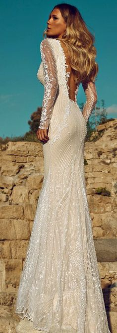OH, WOW!! How gorgeous is this beautiful wedding gown? Love the style and the lace AND the bling.