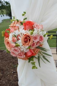 Aisle Decor, Coral Roses, Rustic Weddings, This would be pretty with a little arch at the beginning of the isle with the curtains and floral tie backs
