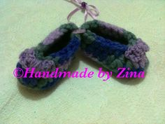 #crochet newborn #baby shoes in purple. £8.00 (exc. p&p)