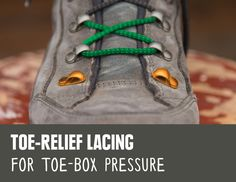 REI Expert Advice: How to Lace Hiking Boots - detail of skipping the first set of lace hooks on your hiking boots for toe-relief