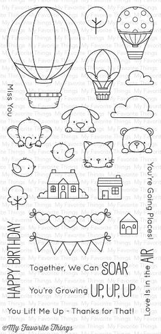 "MFT STAMPS: Birdie Brown Up In The Air x Clear Photopolymer Stamp Set) This package includes Up In The Air, a 25 piece set including: Large balloon 1 x 2 ½"" Small balloons x 1 ¼"" Elephant 1 x ¾"" Dog x Cat ¾"" x Bear x Birds x ½"" Large cloud 1 x ½"" Doodle Drawings, Easy Drawings, Desenho Kids, Small Balloons, Lettering Styles, Mft Stamps, Bullet Journal Inspo, Clear Stamps, Embroidery Patterns"