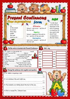 Present continuous interactive and downloadable worksheet. You can do the exercises online or download the worksheet as pdf.