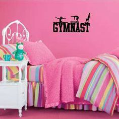 gymnast wall decal | Girls GYMNAST wall sticker/decal beam,bars,leap