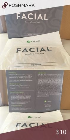It Works Facial Mask **It Works Party Blowout!!**Items were purchased for a party and this was the extra!  **DISCOUNTED Loyal Customer pricing!** The facial mask will tighten, tone and firm your skin instantly! Wear it for 45 min, and start seeing results immediately, and up to 72 hours afterwards! This is a deep hydration mask, and leaves you feeling refreshed! This is one one single mask. It Works Other