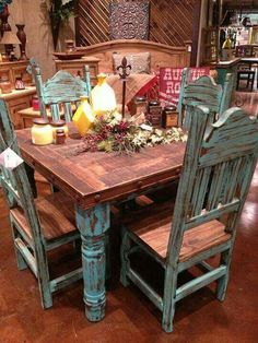 Rustic kitchen table sets love the rustic turquoise table wood stuff dining dining room table and Rustic Kitchen Tables, Dining Table With Bench, Dining Table In Kitchen, Farmhouse Table, Country Kitchen, Western Kitchen, Dining Rooms, Dining Sets, Rustic Table