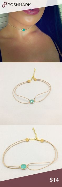 """Aurora Choker Beautiful aqua stone set in gold material with a nude necklace. Measures 11 1/2""""-15 1/2"""". beautiful to layer or wear alone. ❌PRICE FIRM UNLESS BUNDLED❌ Jewelry Necklaces"""