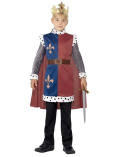 You can buy a Boy's King Arthur Medieval Costume for your little kid from the Halloween Spot. This red king Arthur costume comes with Tunic, Cape & Crown. Medieval Tunic, Medieval Costume, Medieval Knight, Costume Garçon, Boy Costumes, Costume Parties, Costume Shop, Halloween Party Themes, Halloween Costumes For Kids