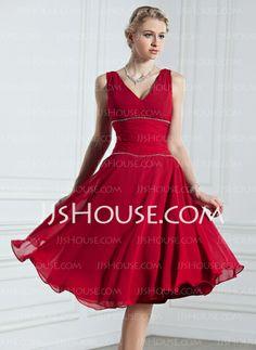 Holiday Dresses - $108.99 - A-Line/Princess V-neck Knee-Length Chiffon Holiday Dress With Ruffle Beading (020039561) http://jjshouse.com/A-Line-Princess-V-Neck-Knee-Length-Chiffon-Holiday-Dress-With-Ruffle-Beading-020039561-g39561