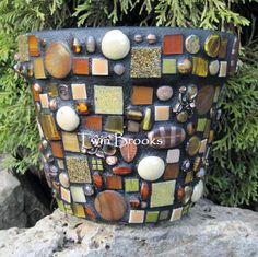 Amber Mosaic Flower Pot. $50.00, via Etsy.