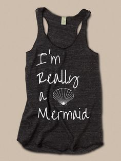I'm Really a MERMAID Cursive Girls Ladies Heathered by LittleAtoms