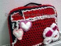 Örgüden laptop çantası Mesh laptop bag. Knitting computer case