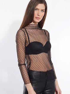 Celestino - Διάφανη τούλινη μπλούζα με ανάγλυφα πουά σχέδια