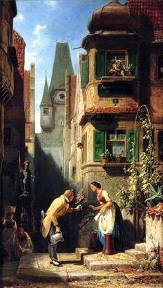 Carl Spitzweg. .@@@@.....http://es.pinterest.com/svetazozulya/old-street-old-house-old-interior-old-time/