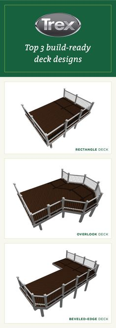 Start your backyard project with a ready-to-go deck plan. Trex makes it simple. Deck Design Plans, Deck Plans, Back Deck, Composite Decking, Decks And Porches, Outdoor Stuff, Backyard Projects, Building Materials, Home Improvement Projects