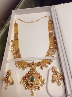 Long necklace 88 gms polki