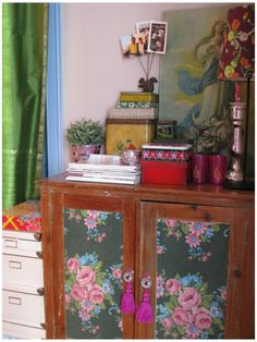 Update old cabinet or dresser w/ fabric or wallpaper
