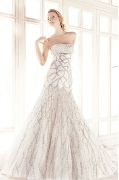 crystal geometric wedding dress